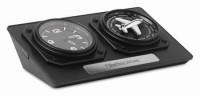 8618q czarny Zegar z czasem światowym