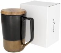 10053700f Kubek ceramiczny Tahoe na kawę i herbatę z pokrywką z drewna