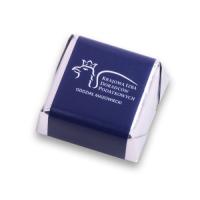 Czekoladki mini sztabki w srebrnym laminacie z etykietą Czekoladki mini sztabki w srebrnym laminacie z etykietą