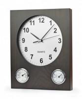 03070a drewniany zegar ścienny z termometrem