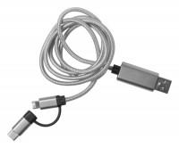 130772c-21 Kabel USB 100cm micro USB, USB-C i Lightning
