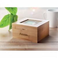 9950m-40 Naturalne bambusowe pudełko ze szklanym wieczkiem