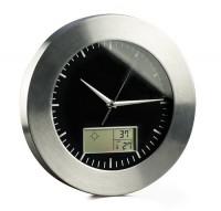 03055a metalowy zegar ścienny z termometrem