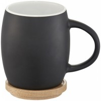10046600 Ceramiczny kubek Hearth z drewnianym wiekiem/spodeczkiem