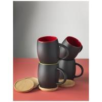 10046602f Ceramiczny kubek z drewnianym wiekiem/spodeczkiem