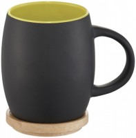 10046603 Ceramiczny kubek Hearth z drewnianym wiekiem/spodeczkiem