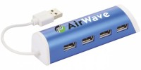 12372402f Aluminiowy 4-portowy hub USB/podstawka na telefon